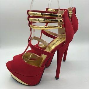 Quipid | Bright Red Open-Toe Platform Heels 6